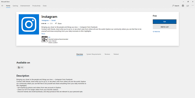 Download Instagram App on Windows 10