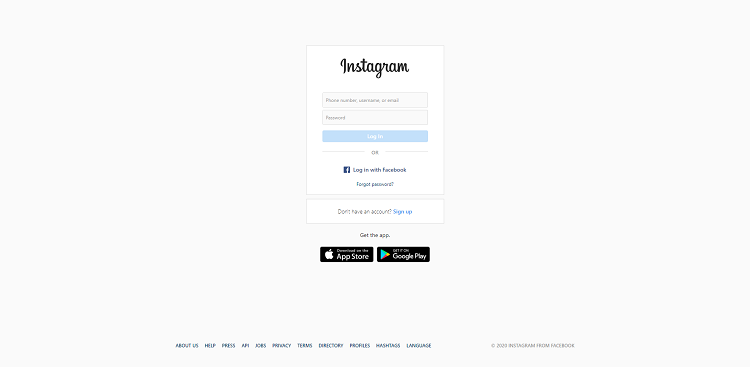 Instagram Web Log in