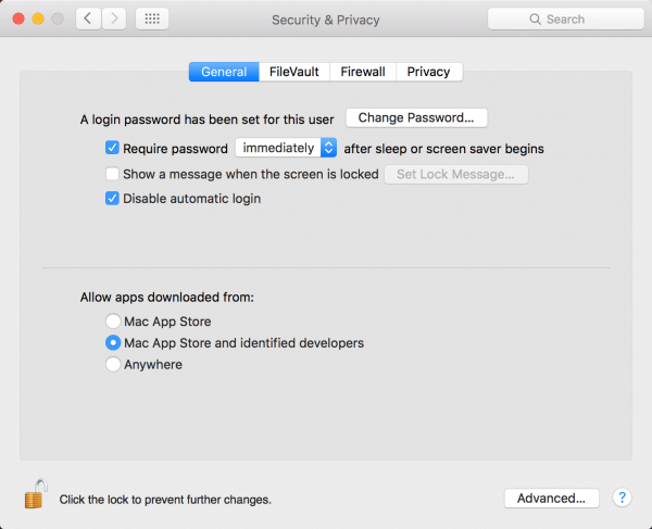Security & Privacy dialog