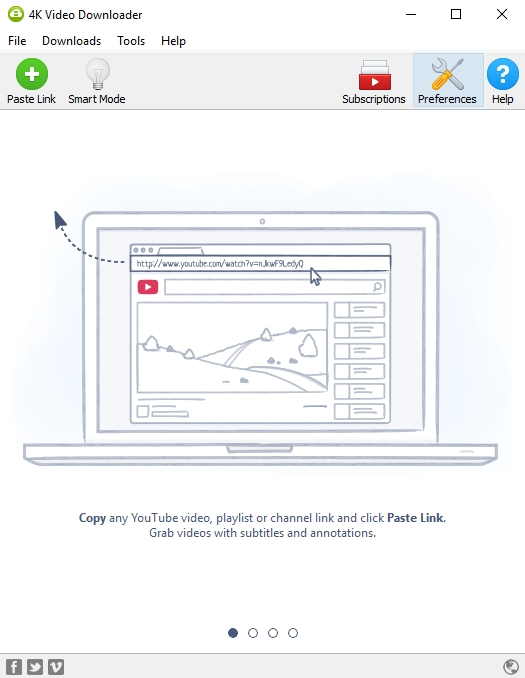 Press 'Paste Url' button in 4K Video Downloader application